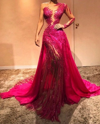 Glamorous One Shoulder Sequins Evening Dresses with Sleeves | 2020 Sexy Sheath Prom Dresses Cheap BC0504_2