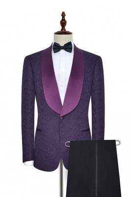 Deep Purple Jacquard Customized Mens Suit for Prom | Shawl Lapel Slim Fit Wedding Suits Tuxedos (Blazer Pants)