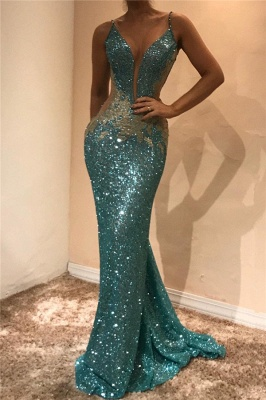 Shiny Sequins V-neck Cheap Prom Dresses 2020 | Appliques Sleeveless Sexy Evening Gown_1