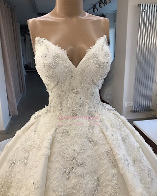 Ball-Gown Sweetheart Appliques Brilliant Sleeveless Wedding Dresses_2