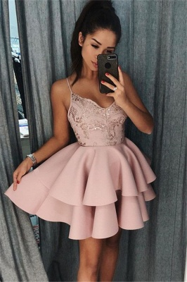 Pink Spaghetti Straps Short Homecoming Dresses   Tiered Appliques Cheap Hoco Dresses 2020_1