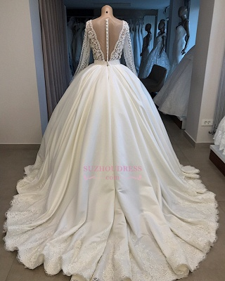 V-neck Amazing Ball-Gown Long-Sleeves Appliques Wedding Dresses_3