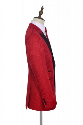 Bright Red Jacquard Tuxedos Wedding Suit Cheap | Black Shawl Lapel Tailored Slim Fit Prom Suits (Blazer Pants)_2