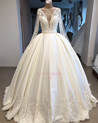 V-neck Amazing Ball-Gown Long-Sleeves Appliques Wedding Dresses_4