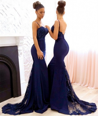Spaghetti Straps Backless Sexy Bridesmaid Dresses Cheap 2020 Mermaid Lace Evening Gown BA7878_3