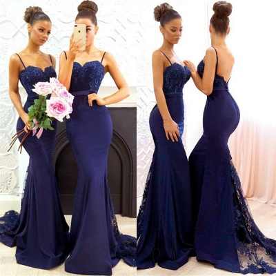 Spaghetti Straps Backless Sexy Bridesmaid Dresses Cheap 2020 Mermaid Lace Evening Gown BA7878_5