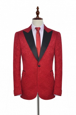Bright Red Jacquard Tuxedos Wedding Suit Cheap | Black Shawl Lapel Tailored Slim Fit Prom Suits (Blazer Pants)_1