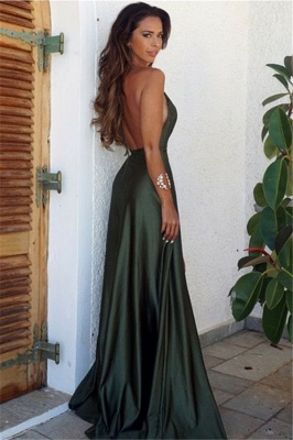 Straps Halter Sexy V-neck Dark Green Evening Dress Side Slit Backless 2020 Formal Dress Cheap FB0019_2