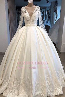V-neck Amazing Ball-Gown Long-Sleeves Appliques Wedding Dresses_1