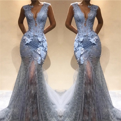 Lace Appliques Sheer Mermaid Lace Prom Dress Cheap   Sleeveless Sexy Long Evening Dress_3