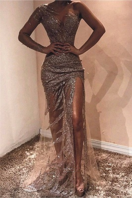 One Shoulder See Through Sexy Evening Dresses | Sexy Side Slit Sequins Cheap Prom Dresses 2020_1