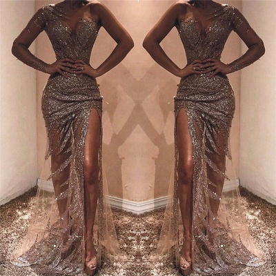 One Shoulder See Through Sexy Evening Dresses | Sexy Side Slit Sequins Cheap Prom Dresses 2020_3