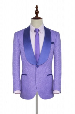 Light Purple Jacquard Tuxedos Prom Suit Cheap | Shawl Lapel Customized Slim Fit Party Suits (Blazer Pants)