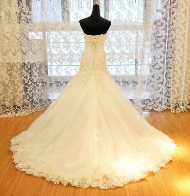 White Sweetheart Mermaid Wedding Dresses Applique Lace-Up Sexy 2020 Bridal Gowns_4
