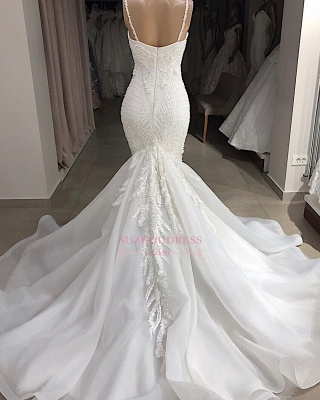 Excellent Sweetheart Spaghetti-Straps Sleeveless Appliques Mermaid Wedding Dresses_2