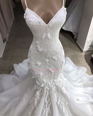 Excellent Sweetheart Spaghetti-Straps Sleeveless Appliques Mermaid Wedding Dresses_3