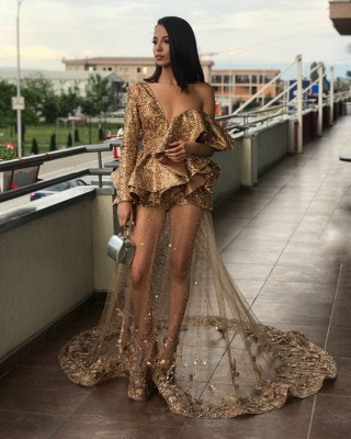One Sleeve Gold Sequins Prom Dresses Cheap 2020 | Sheer Tulle Appliques Sexy Evening Gowns BA9830_5