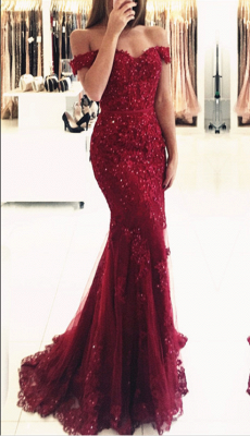 Glamorous Mermaid Lace Prom Dress 2020 Off-the-shoulder Red Appliques Evening Dress_3