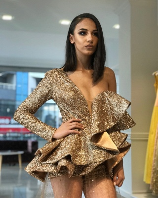 One Sleeve Gold Sequins Prom Dresses Cheap 2020 | Sheer Tulle Appliques Sexy Evening Gowns BA9830_3