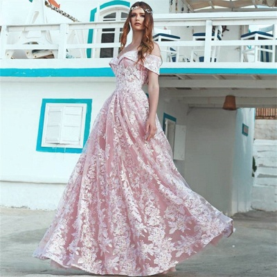 Elegant Pink Off Shoulder Evening Dresses Cheap | 2020 A-Line Lace Long Formal Dress_3