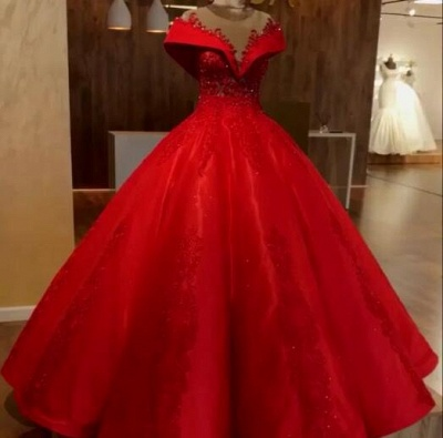 Red Off The Shoulder Ball Gown Quinceanera Dresses | 2020 Lace Crystal Puffy Evening Dress_3
