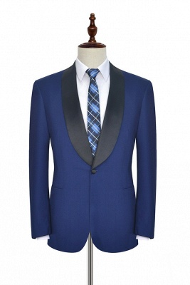 Royal Blue Wool Tailored Formal Mens Suit Cheap | Black Silk Shawl Lapel Customized Slim Fit Tuxedos (Blazer Pants)
