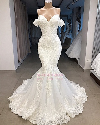 Mermaid Appliques Sweetheart Off-the-shoulder Glorious Wedding Dresses_3