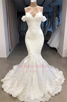 Mermaid Appliques Sweetheart Off-the-shoulder Glorious Wedding Dresses_1