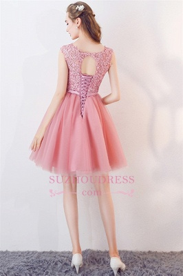 Bowknot Pink Lace Tulle Short Homecoming Dresses | Cheap 2020 Short Bridesmaid Dresses Online_2