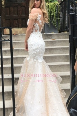 2020 Mermaid Off-the-Shoulder Wedding Dress | Tulle Appliques Bridal Gowns WW0104_1