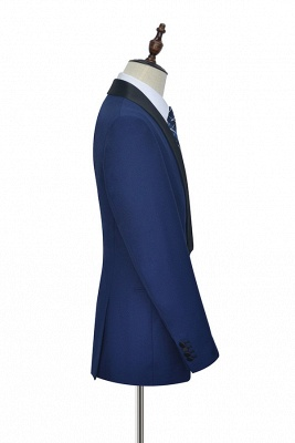 Royal Blue Wool Tailored Formal Mens Suit Cheap | Black Silk Shawl Lapel Customized Slim Fit Tuxedos (Blazer Pants)_4