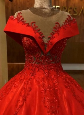 Red Off The Shoulder Ball Gown Quinceanera Dresses | 2020 Lace Crystal Puffy Evening Dress_4