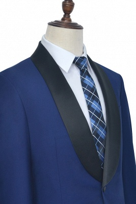 Royal Blue Wool Tailored Formal Mens Suit Cheap | Black Silk Shawl Lapel Customized Slim Fit Tuxedos (Blazer Pants)_5