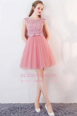 Bowknot Pink Lace Tulle Short Homecoming Dresses | Cheap 2020 Short Bridesmaid Dresses Online_3