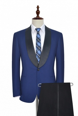 Royal Blue Wool Tailored Formal Mens Suit Cheap | Black Silk Shawl Lapel Customized Slim Fit Tuxedos (Blazer Pants)_3