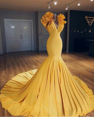 2020 Cheap Ginger Yellow Mermaid Prom Dresses on Mannequins   Ruffles Court Train Sexy Evening Gowns BA9299_3