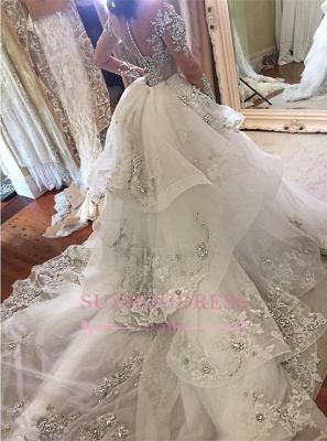 Glamorous Long Sleeves Tulle High Neck 2020 Bride Dresses Appliques Wedding Dresses with Detachable Overskirt qq0375_1