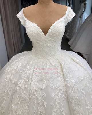 V-neck Fascinating Appliques Cap-Sleeves Ball-Gown Wedding Dresses_2