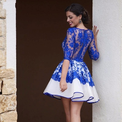 Royal Blue Lace Homecoming Dresses 2020 Cheap Half Sleeve Short Evening Gowns BA3268_3