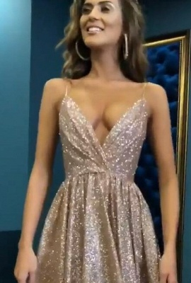 Sexy Sequins Simple Spaghetti Straps Evening Dresses | 2020 Cheap Open Back Sleeveless Prom Dress BC0494_4