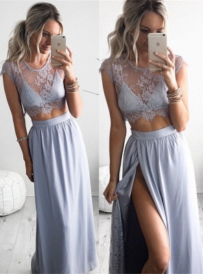 2020 Two Piece Summer Party Dress Illusion Lace Cap Sleeve Evening Gowns with Split BA3264_5