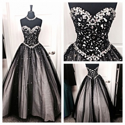 Sparkly A-Line Sweetheart Black Wedding Dress with Rhinestone Beautiful Lace-Up Quinceanera Dress_2