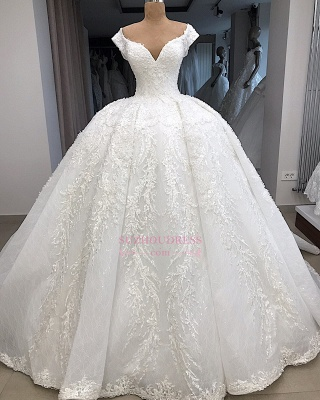 V-neck Fascinating Appliques Cap-Sleeves Ball-Gown Wedding Dresses_3