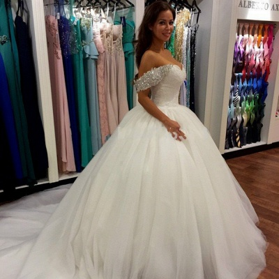 2020 Off Shoulder Ball Gown Wedding Dress Sweeheart Crystals Wedding Gowns_1