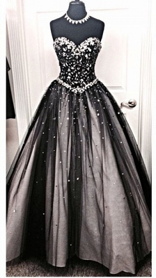 Sparkly A-Line Sweetheart Black Wedding Dress with Rhinestone Beautiful Lace-Up Quinceanera Dress_1