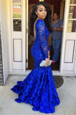 Royal Blue Long Sleeves Mermaid Prom Dresses | 2020 Sexy Backless Evening Dresses SK0158_3