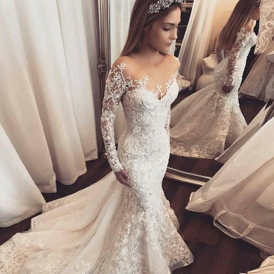 Elegant Long Sleeves Mermaid Wedding Dresses 2020 | Sheer Tulle Lace Bridal Gowns with Buttons BC1509_4