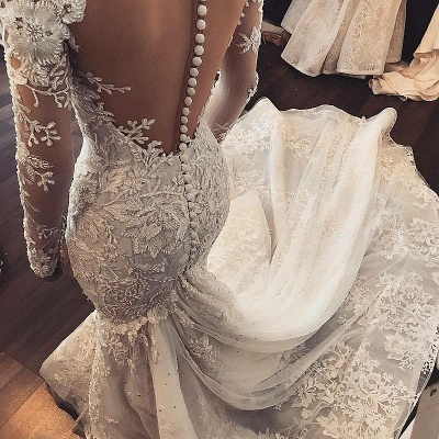 Elegant Long Sleeves Mermaid Wedding Dresses 2020 | Sheer Tulle Lace Bridal Gowns with Buttons BC1509_3