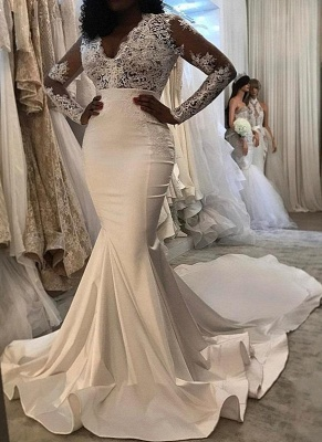 Sexy Lace Trumpet/ Mermaid Wedding Dresses | White Chic Wedding Dress_1
