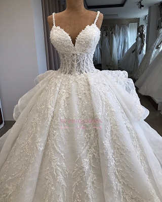 Appliques Attractive Sleeveless Sweetheart Spaghetti-Straps Wedding Dresses_3